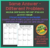 Decimal Operations Partner Activity /Same Answer - Different Problem  Decimals