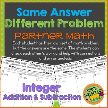 Integer Addition & Subtraction Partner Activity / Same Answer-Different Problem