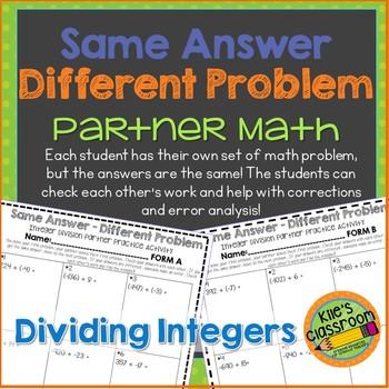 Integer Division Partner Activity /Same Answer-Different Problem Divide Negative