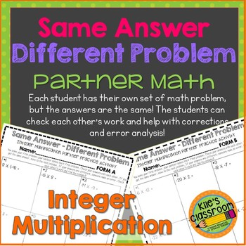 Integer Multiplication Partner Activity / Same Answer-Different Problem