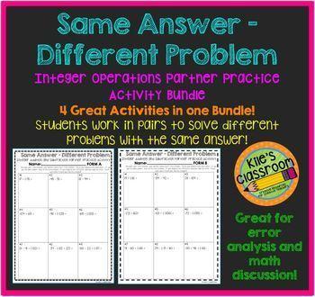 Integer Operations Partner Activity Bundle - Same Answer Different Problem