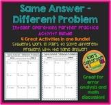 Integer Operations Partner  Bundle- Same Answer Different Problem Integers