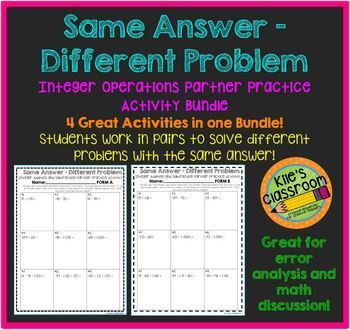 Integer Operations Partner  Bundle- Same Answer Different Problem Integers