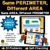 Same Area or Same Perimeter Superheroes Game on Google Sli