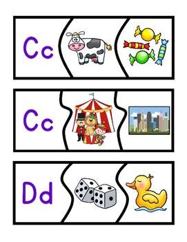 Beginning Sounds MATCHING PUZZLES: A-Z