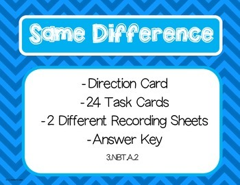 Same Difference Subtraction Task Cards