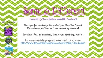 Compare & Contrast Task Cards for Speech Therapy