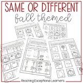 Same or Different Fall Worksheets