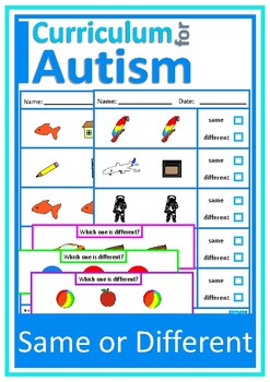 Same, Different Colors, Shapes, Nouns, Autism, Special Education, Speech