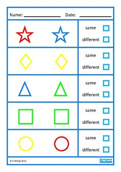 Same Different Colors Shapes Nouns Autism Early Childhood