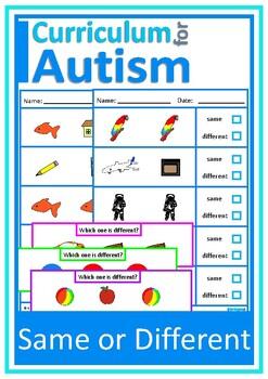 Same or Different Colors Shapes Nouns, Autism Special Educ