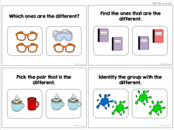 Same/Different & Equal/Unequal Task Cards [ABLLS-R Aligned R15, R16, R25, R26]