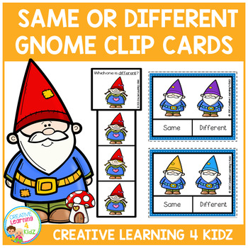 Same & Different Gnome Clip Cards