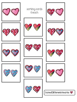Same/Different Hearts File Folder Sorting