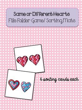 Same/Different Hearts File Folder Sorting