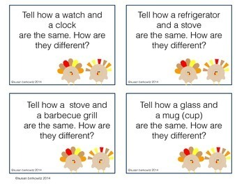 Compare Contrast Practice for Thanksgiving for Speech Therapy Game or Task Cards