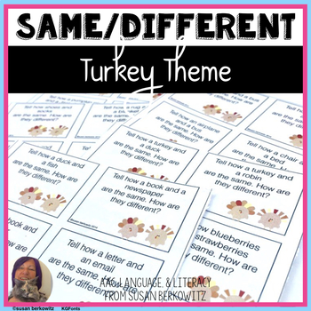 Compare Contrast Practice for Thanksgiving for Speech Language Game Task Cards