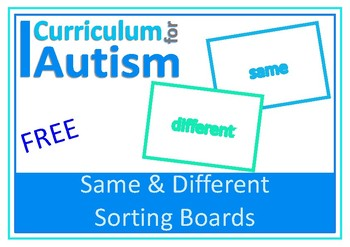 Same Different Sorting Boards FREE, Autism, Special Education