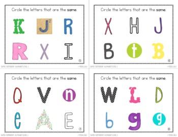 Same/ Different Task Cards- Alphabet