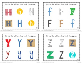 Same & Different Task Cards {Alphabet}