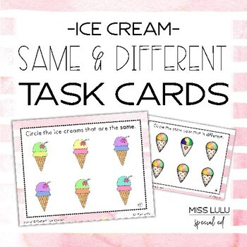 Same & Different Task Cards {Summer Ice Cream}