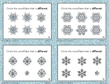 Same/ Different Task Cards- Winter Snowflakes