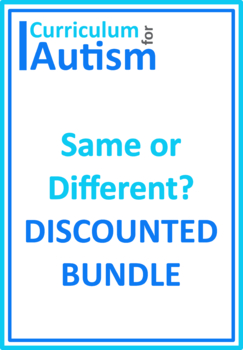 Same Different Autism Thinking Skills Special Education Speech Therapy BUNDLE