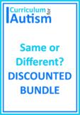 Same Different Attributes Basic Concepts BUNDLE Autism Speech