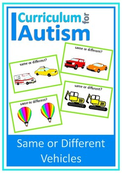 Same Different Vehicles Visual Discrimination, Autism, Special Education