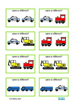 Same Different Transportation Visual Discrimination Autism Special Education