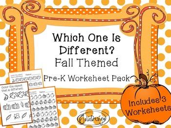 Same-Different 'Different' Worksheet - Fall Themed PreK Worksheet