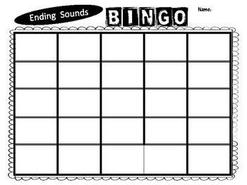 Same Ending Sound Bingo Game for IREAD Practice
