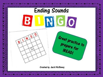 Same Ending Sound Bingo Game for IREAD Practice