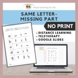 Same Letter - Missing Part (Google Slides / Teletherapy /