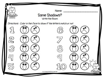 Same Shadows?:  LOW PREP Groundhog Day Themed Letter Matching Write the Room
