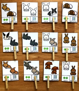 Same and Different Bunnies Task Cards