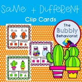 Same and Different Clip Cards