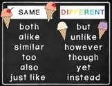Same and Different Key Words Anchor Chart ESL