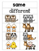 Animal Same and Different Printables and Activities