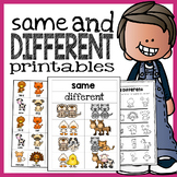 Same and Different Printables and Activities [Animal Theme]