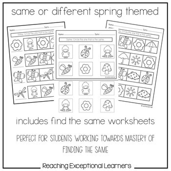 Same or Different Spring Math designed for Special Education