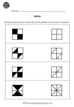 Kindergarten Math - Same and Different Worksheets