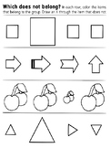 Same and different shapes sheet