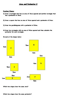 Same area, different perimeter worksheets