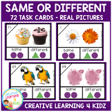 Same or Different Task Cards Real Pictures