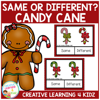 Same or Different Candy Cane Clip Cards Autism