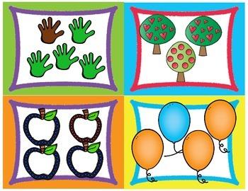 Same or Different Card. Language Arts Center. Preschool.