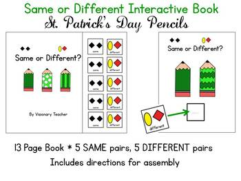 Same or Different Interactive Book - St. Patrick's Day Pencils