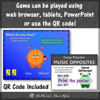 Music Opposite Same or Different? Interactive Music Game {Fuzzy Monsters}