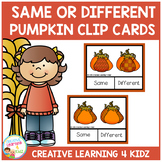 Same or Different Pumpkin Clip Cards Thanksgiving